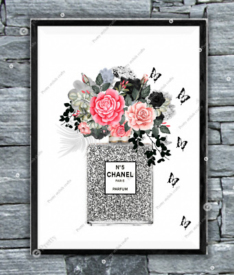 Coco chanel Silver wall print art home decor perfume picture poster UK Gift