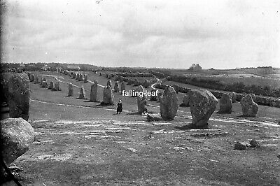 CARNAC Standing Stones Antique Photographic Glass Negative (Brittany c1910s)