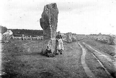 CARNAC People Antique Photographic Glass Negative (Standing Stones Brittany)