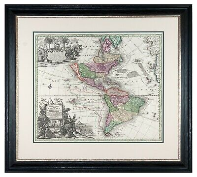 1740 Seutter Western Hemisphere Map with California as an Island - Museum Framed
