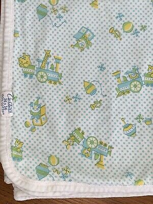 Vintage 70/'s Carters Train Clown Toys Cotton Baby Blanket Yellow Security Lovey