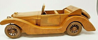 Vintage 100% Walnut Handmade Carved Large Right Hand Drive 1930s Car Roadster