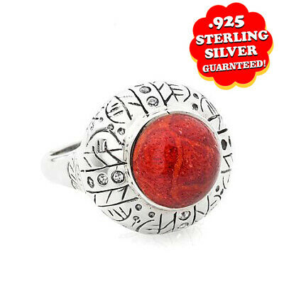 HSN Sterling Silver Round Coral & Simulated Diamond Fashion Ring Sz 8