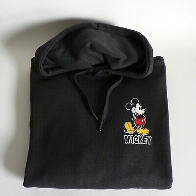 H&M Disney Mickey Mouse Hoodie Medium Black 90 Years Bnwt Unisex Fun Hooded Top