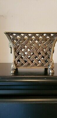 Wildwood Accents vintage collectible, Bronze basket, container, planter