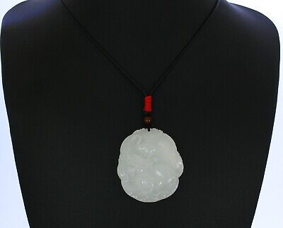 "1.9""China Certify Nature Afghan White Jade Champion Crane and Beast Pendant"