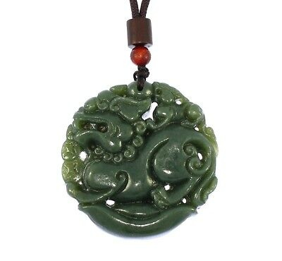 "1.9""China Certify Nature Hetian Nephrite Jade Fortune Pixiu Hand Carved Necklace"