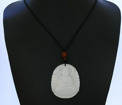 "2.2"" China Certified Nature Afghan White Jade Thousand Hands Buddist Necklace"