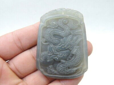 Antique Chinese Hetian Jade Pendant Hand-Carved Dragon Worth Collecting F