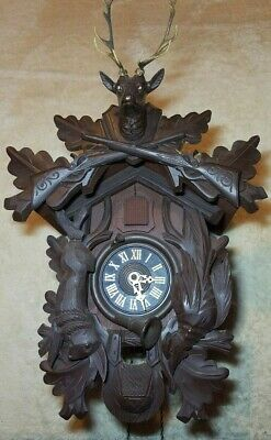 Bachmaier & Klemmer Black Forest Hunter Themed Cuckoo Clock -Complete- Works!