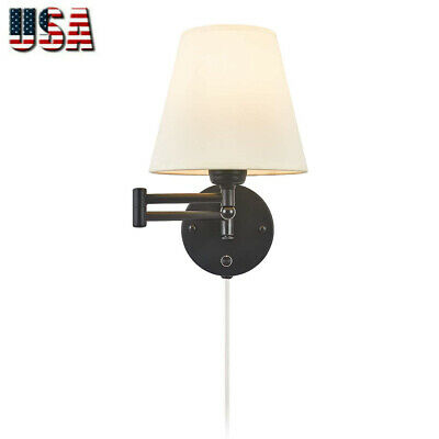 Swing Arm Wall Lamp Plug-in Cord Ivory Linen Shade On/Off Switch 40W (1 Light)