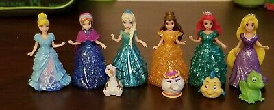 Disney Princess Glitter Glider Magic Clip Lot Of 6 Dolls & 4 Friends..EUC