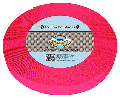 Country Brook Design® 1 Inch Hot Pink Heavy Nylon Webbing, 20 Yards