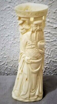Antique Chinese Hand Carved Immortal Pine Tree Brush Pot