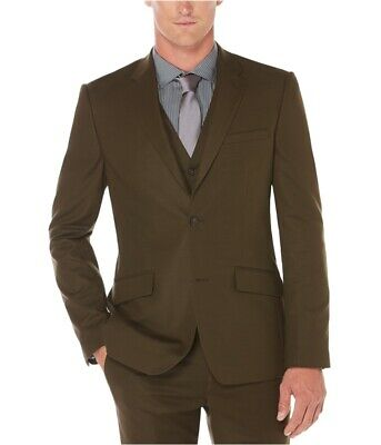 Perry Ellis Mens Slim-Fit Stretch Two Button Blazer Jacket, Brown, 40 Regular