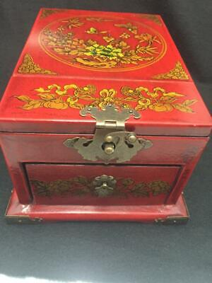 Antique Chinese Make-Up Vanity Fold-Up Mirror Jewelry Box Drawer