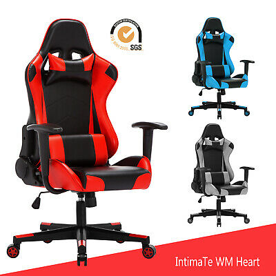 Executive Racing Gaming Office Chair Computer Swivel Adjustable Recliner Leather