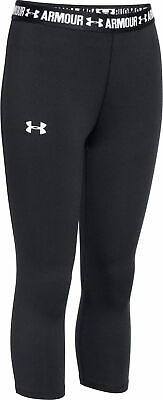 Under Armour HeatGear Girls Running Tights Black 3/4 Junior Capri Sport Training