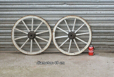 2x Vintage old wooden cart wagon wheel  / 48 cm FREE DELIVERY