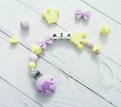 Personalised Silicone Beads Dummy Clip Holder Bow Crown BPA Free