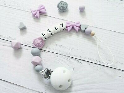 Personalised Silicone Beads Dummy Clip Holder Flower Bow BPA Free