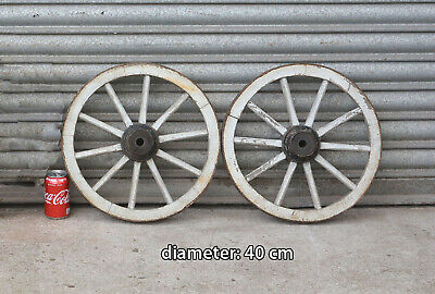 2x Vintage old wooden cart wagon wheel  / 40 cm FREE DELIVERY