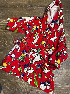 Kids Size Medium Frette swimmers robe hooded bathrobe Red Circus theme cotton