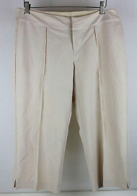 Chenault Womens Beige Stretch Cropped Capri Career Pants Size 8