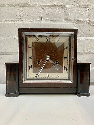 Antique Art Deco Perivale Wooden Mantle Clock With Key