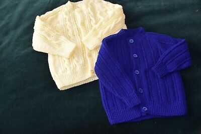 Hand Knitted White/Blue Baby Cardigans.
