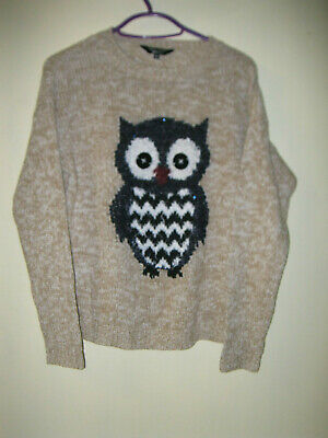 Girls aged 9 years beige chunky jumper with owl motif New Look