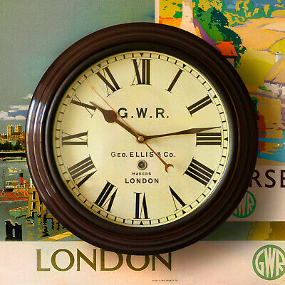 """Railway Station Clock 12"""" Quality Repro. BR LMS SR GNR LNER GWR Roundel or Text"""