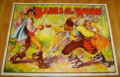 1930s Babes in the Wood Stone Lithograph Theater Poster Large Pantomime British