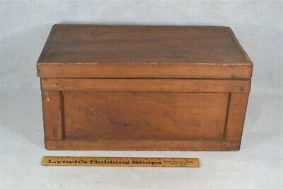 """antique box wooden hand made document small 16 x 9"""" pine vintage"""