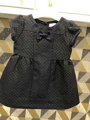 Ted Baker Baby Girls Fully Lined Navy & Gold Dress Age 3-6 Months Immaculate