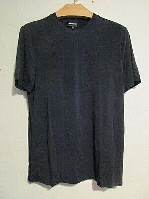 Men's GIORGIO ARMANI Black Label Men's Crew Neck Tee Shirt Solid Black Size 52
