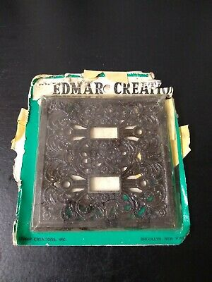 Vintage NOS Edmar Creations Ornate Cast Iron Double Switch Plate