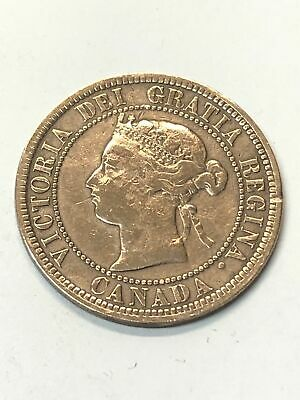1876 H English Queen Victoria Canada One Cent Coin