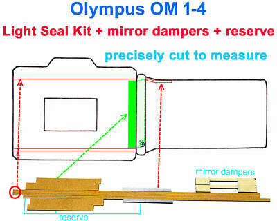 OLYMPUS Light seal kit +mirror dampers PRECISELY PRECUT to fit *only* OM 1+2+3+4