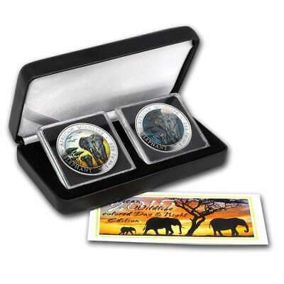 2015 Somalian ELEPHANT DAY & NIGHT Colorized Silver-2 Coin Set
