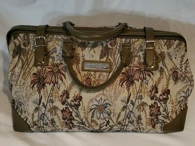 """VINTAGE JORDACHE 16"""" CARRY ON DUFFLE BAG FLORAL TAPESTRY UPHOLSTERY Luggage Tag"""