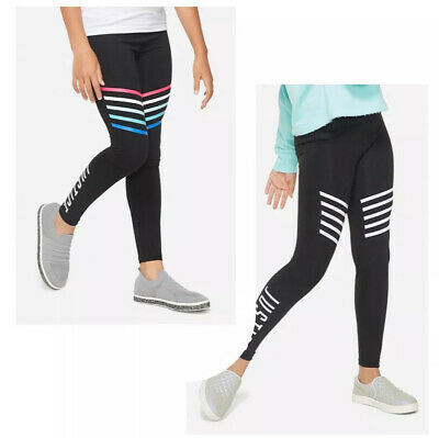 NWT 2 Girls Justice Black Active Leggings Logo Size 10 White And Multi Stripe