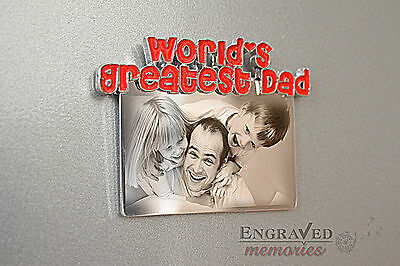 Photo personalised engraved metal fridge magnet Mother's day gift FREE P&P