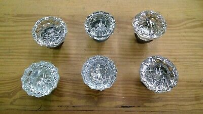 """per each Drawer Knobs//Pull 1890s-1930s 12 point clear glass 1 1//4/""""dia"""