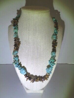 """Stunning Vintage Tiger's Eye & Turquoise Silver Tone Necklace 20"""""""