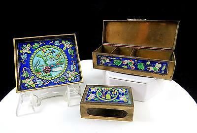 Chinese Antique 3 Piece Brass And Enamel Floral Cobalt Cloisonne Smoking Set