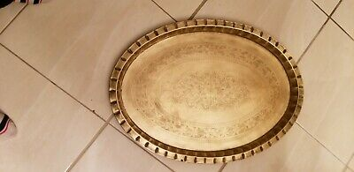 Brass etched tray serving Mid Century Modern Large Oval Floral