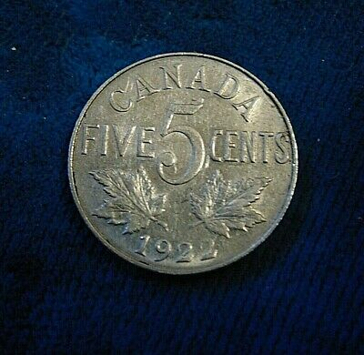 CANADA 1922 NEAR RIM FIVE 5 cent nickel CANADIAN coin King George V  C