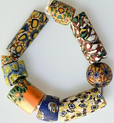 9 Mixed Venetian Millefiori Trade Beads - African Trade Beads