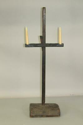 Rare Pilgrim 17Th - 18Th C Ma Table Top Adjustable Wooden Double Candle Holder